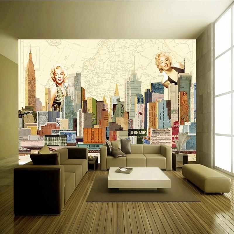 Free Shipping Custom New York City Monroe Retro Background Mural Living Room Restaurant Bedroom Studio Wallpaper