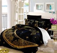 Bohomia Style Black Bedding Set Golden Moon Star Print Duvet Cover Twin Full King Queen Bed 3Pcs ropa de cama D35