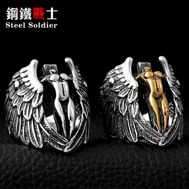 Steel soldier Stainless Steel Man's Jewelry Winged Feather Angle Ring Cool Vinta