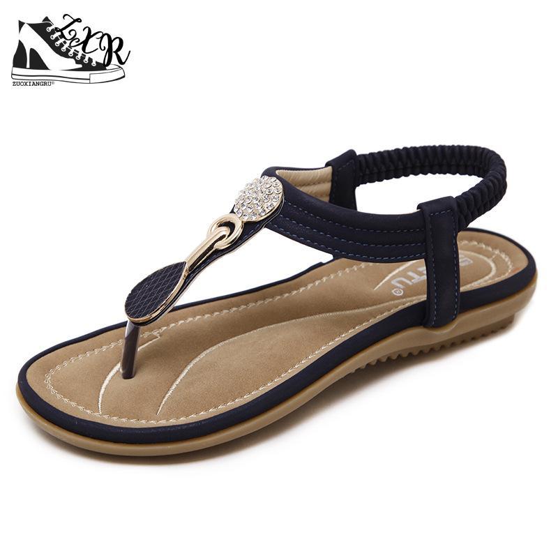 Summer New Bohemian Wedge Women Sandals Rhinestone Woman Flip Flops Vintage Women Shoes Beach Shose