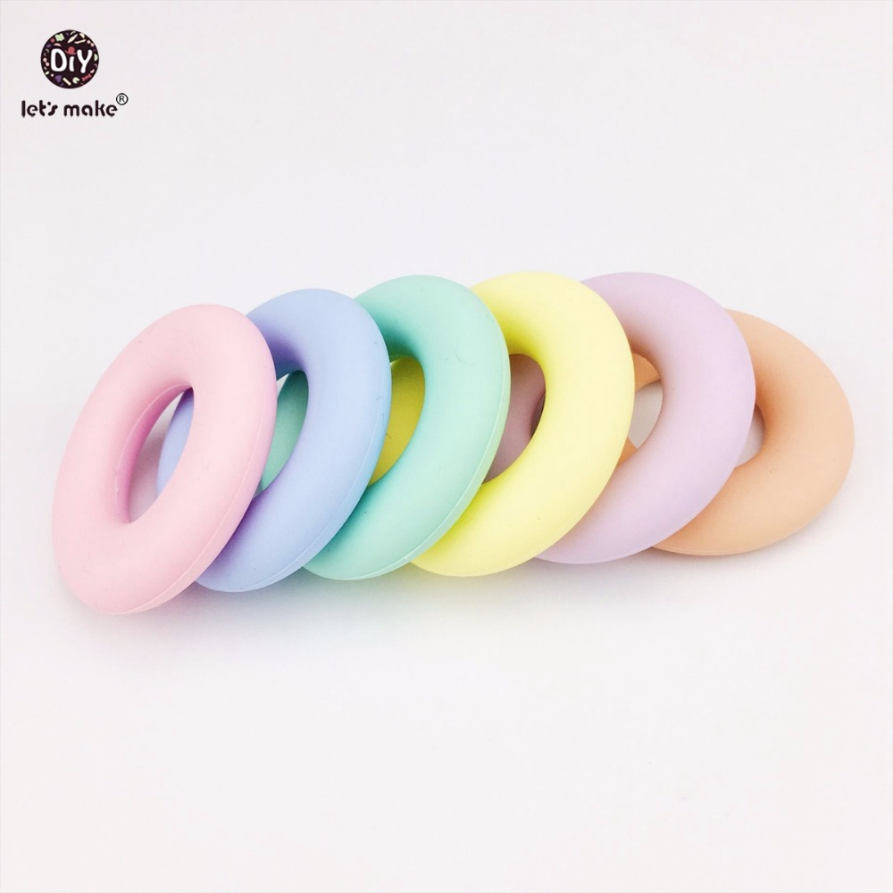 Let's Make Candy Color Silicone Rings Diy Jewelry 20pcs Food Grade Silicone Teether Nursing Necklace Accessories Baby Teether