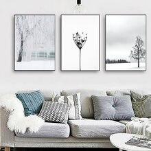 Скандинавские черно белые фотообои с ландшафтом Одуванчик художественные