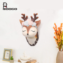 Roogo Cute Deer Head Animal Self Adhesive Clothes Display Racks Hook Coat Hanger Cap Room Decor Show Wall Bag Keys Sticky Holder