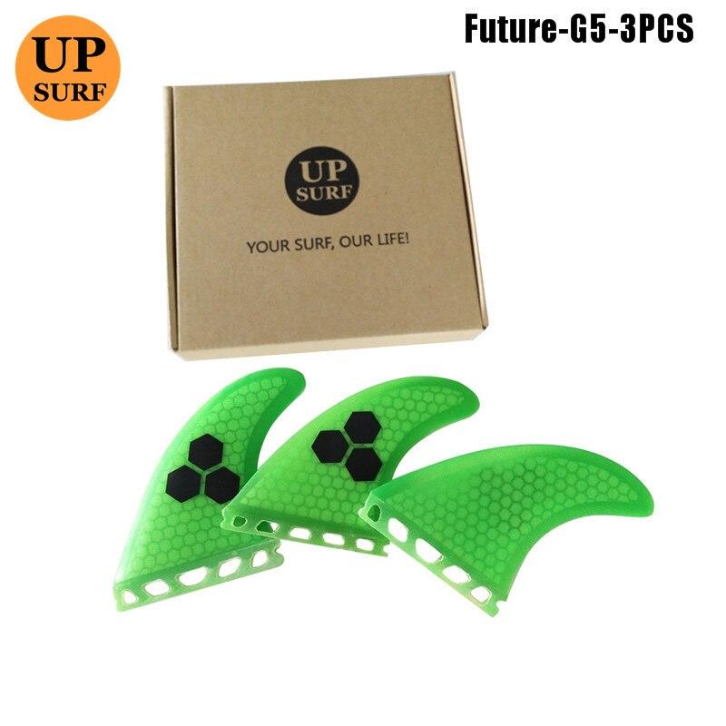Surf fins Future G5 Fins green tri set Fibreglass Quilhas Fin Surf Future Honeycomb Fins M