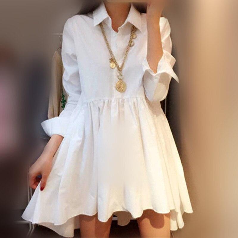 [GUTU]Hot spring and summer 2017 women's chiffon white black S shirt collar irregular fashion women refuse 4XL B0180M