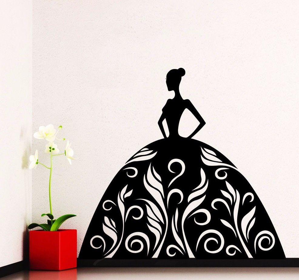 Art Decoration Wall Vinyl Decals Fashion Girl Dress Decal