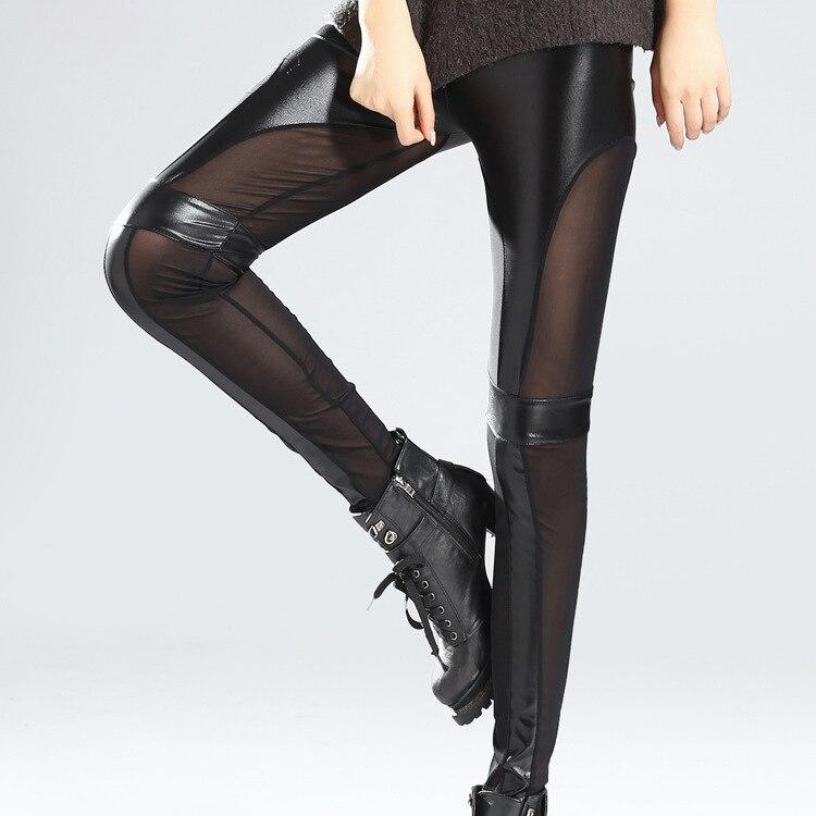 0fbfafc4d71 2018 fashion punk lady leather leggings patchwork black women leggings mesh  and fake leather legging