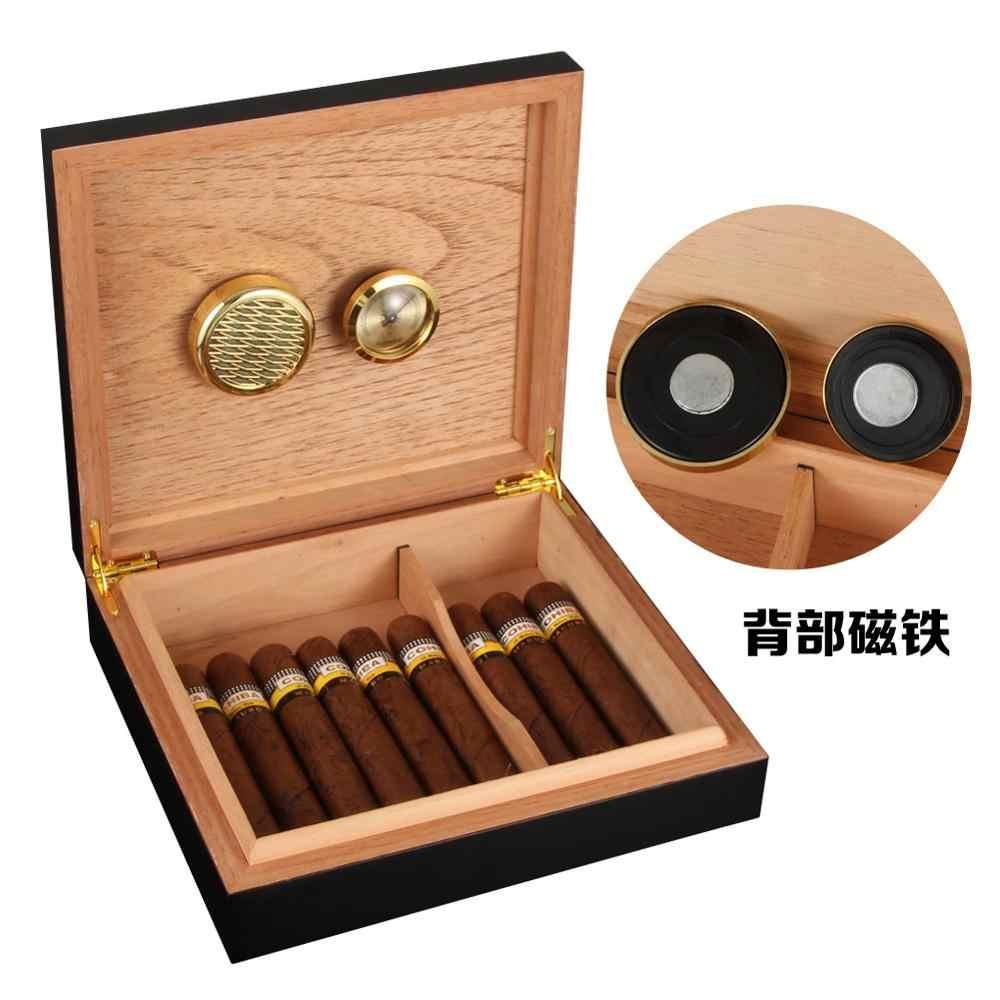 Galiner Klasik Cigar Humidor Kotak Kayu Cedar Puro Case W/Magnet Higrometer Humidifier untuk Cohiba Cerutu Perjalanan Kotak Tembakau Sigaren