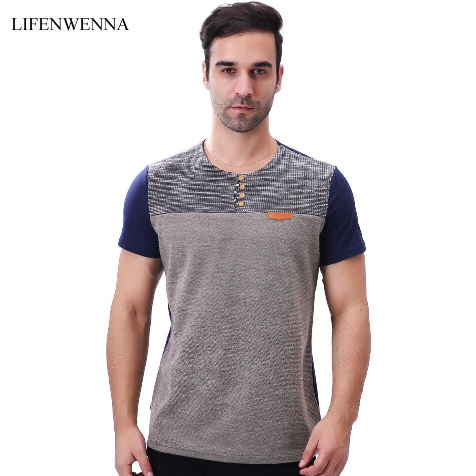 Marque de mode Hommes de T-shirt 2018 Nouveau Casual Patchwork À Manches Courtes T Shirt Mens Boutons Décoration Slim Fit O Cou Tops T-shirts 5XL