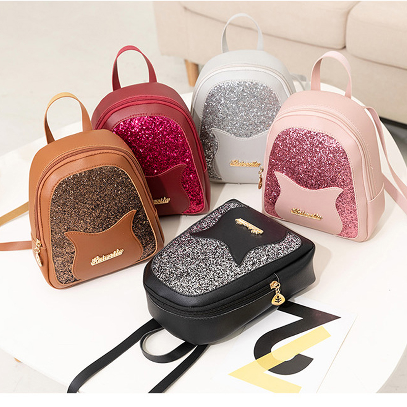 Girl's Small Backpack 2019 Brand Fashion Shining Sequin Shoulder Bag Women Multi-Function Mini Back Pack For Teenage Girls Kids