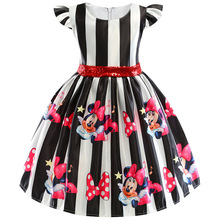 Baby Girl Clothes 2019 New Girls Cartoon Print Sequined Bow Dress Baby Girls Minnie Print Striped Princess Dress For 2-6Y