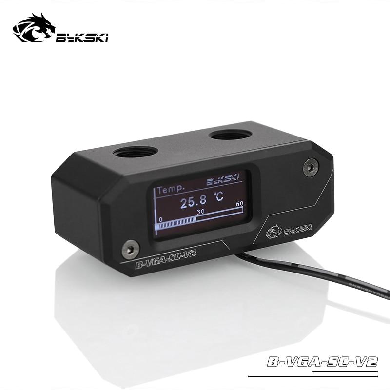 Bykski oled display digital medidor de temperatura da água uso para gpu bloco adaptador adicionar no radiador g1/4fitting termômetro sensor montagem
