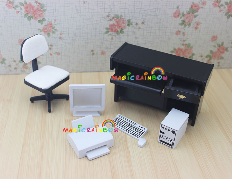 Super Us 14 39 10 Off 1 12 Scale Dollhouse Miniatures Desk Computer Chair Printer Office Furniture Wood 4Pc For Doll House In Furniture Toys From Toys Download Free Architecture Designs Scobabritishbridgeorg
