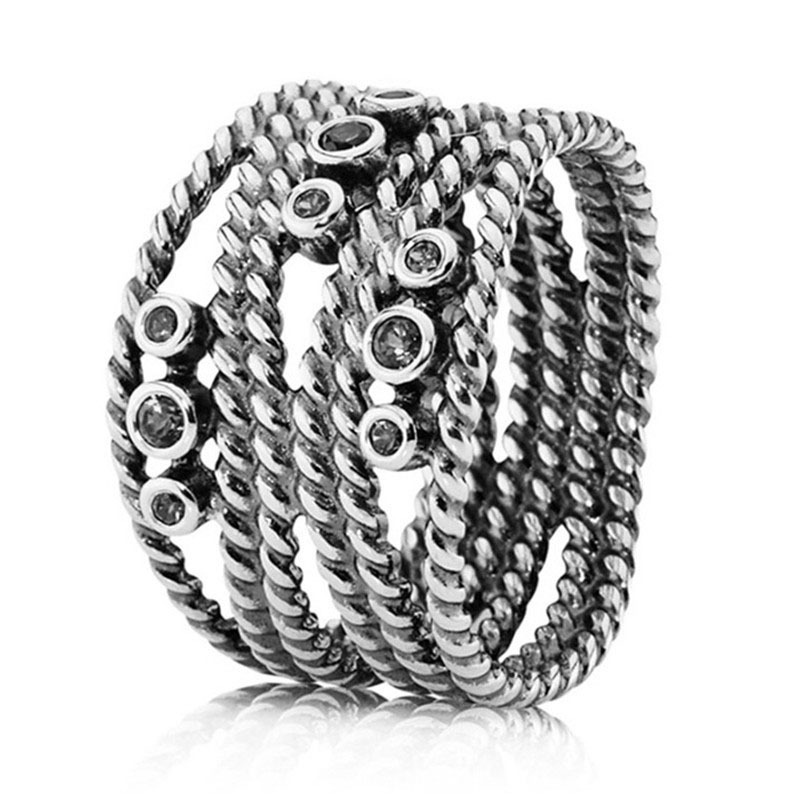 Punk 925 Sterling Silver Clear Crystal Snake Rope Ring For Women Wedding Engagement Party Gift Fine Europe Jewelry Original in Engagement Rings from Jewelry Accessories