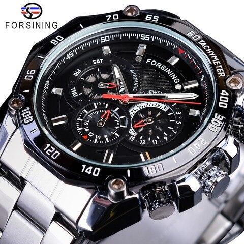 Forsining Data Display Luminoso Mãos Calendário Completo Relógios Automáticos Masculinos Marca Superior Luxo Prata Aço Inoxidável Pulseira