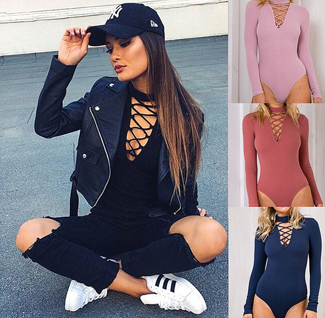 Women Autumn Winter Sexy Basic Chest Hollow bandage Cotton Halter Long Sleeve Deep V Neck One piece jumpsuits Sweater bodysuits
