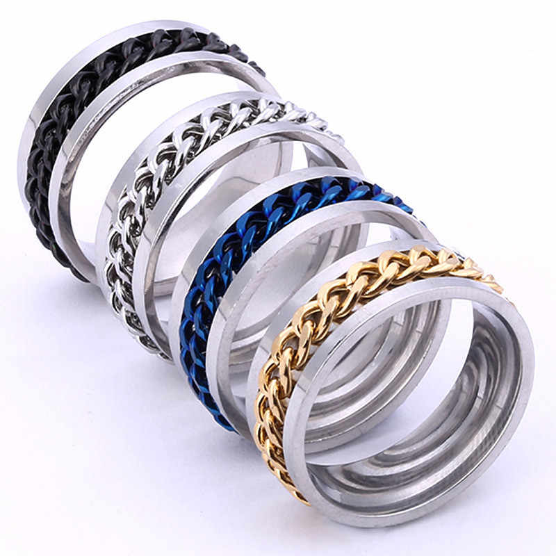 2018 Fashion Anti-allergy Men 's Titanium Steel Ring Black Chain Ring For Men Vintage Punk Metal Brand Finger Ring Jewelry