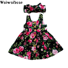 Waiwaibear Summer Sleeveless Girls Dress Baby Girl Clothes Button Floral Wedding Pageant Formal Dresses Sundress Clothing