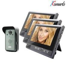 Waterproof Home Door Video Intercom Entryphone With Three Monitors 7″ LCD Support Video Talk & Unlock Door Remotely
