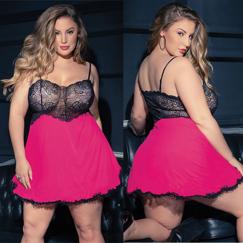 <font><b>Plus</b></font> <font><b>Size</b></font> 5XL <font><b>Sexy</b></font> Babydoll <font><b>Lingerie</b></font> Erotic Women Lace Costume Sleepwear Dress Transparent Strap Chemise Underwear image