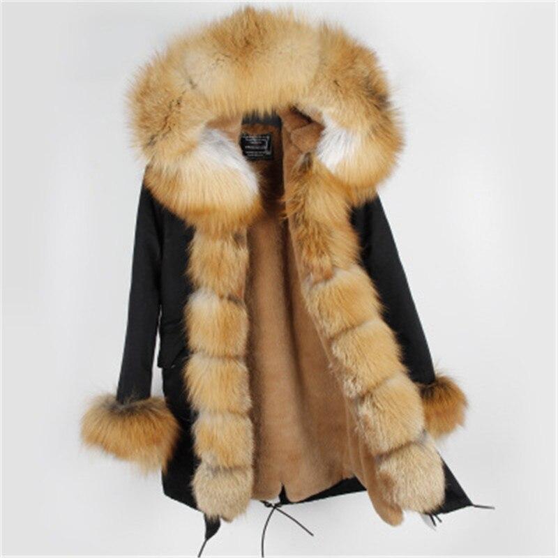 6 1 Fourrure Manteau Marque 3 2 D'hiver Femmes 7 10 9 4 Col Réel 8 5 12 Naturel Maomaokong 13 De Épais Argent Veste 11 Outwear Renard Parkas Style Rouge BTHZanqZ