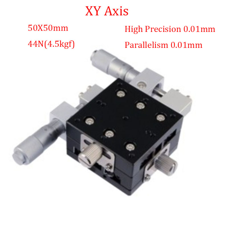 XY Axis 50x50mm Trimming Platform Linear Stage Table Manual Displacement Platform Parallelism Precision 0.01mm Sliding Table lgy40r xy axis manual displacement platform micrometer sliding stage 19 2n 40mm