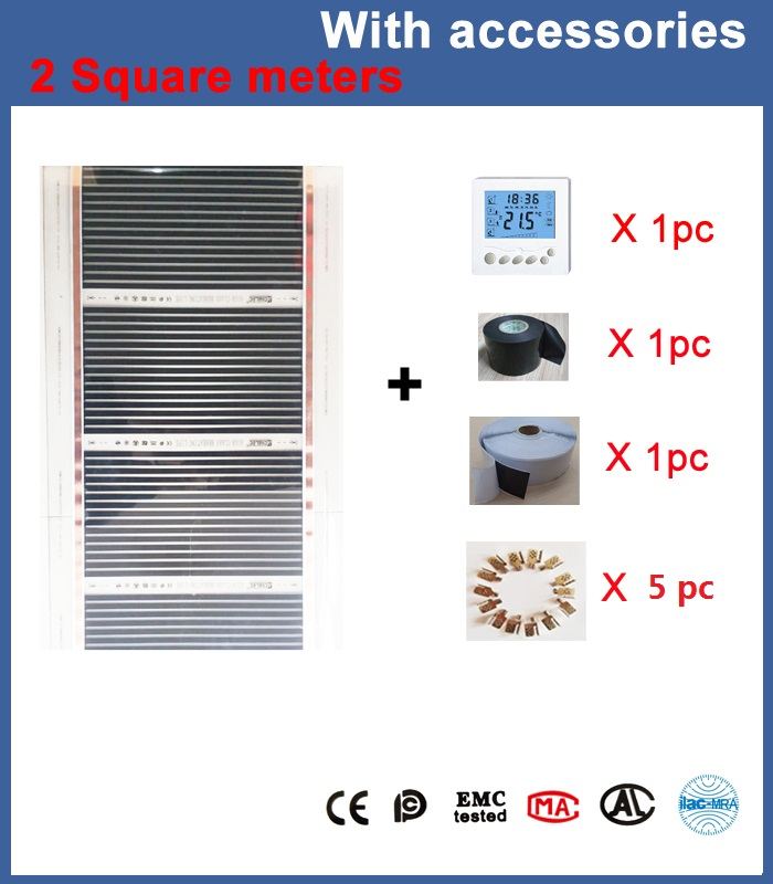 2 square meters 50 cm*4 m infrared heating film with thermostat and clamps (clips) and insulating daub and black tap hot free shipping 10 square meter floor heating films thermostats clamps piler black tape insulating daub 0 5m 20m 220vac