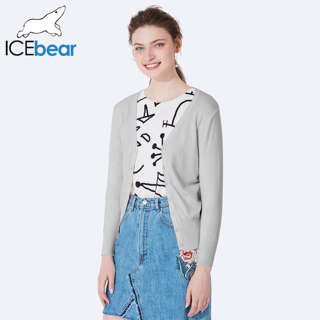 ICEbear 2017 V-Neck Sexy Sweaters Female Autumn Winter Knitted Cardigans Slim Solid Color Long Sleeve SZ0709D
