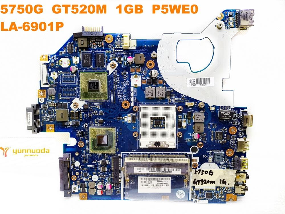 Original for ACER 5750G laptop motherboard 5750G GT520M 1GB P5WE0 LA-6901P tested good free shipping image