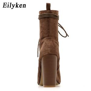 Image 3 - Eilyken 2020 Mới Mắt Cá Chân Giày Cho Nữ Peep Toe Cột Dây Chéo Buộc Gót Bơm Phụ Nữ La Mã Bootas giày Sandal Nâu Đen