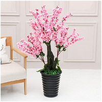 Fake tree 120cm artificial Peach Blossom Tree Home Decoration Office Decoration Plastic Flower Greenery for Wedding
