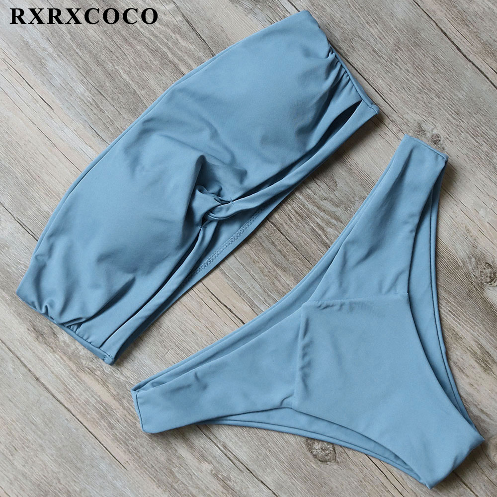 RXRXCOCO Hot Bikini 2018 Solid Bikini Set Bandeau Swimsuit Women Sexy Strapless Swimwear Female Low Waist Bathing Sit With Pad rxrxcoco hot swimwear women sexy lace