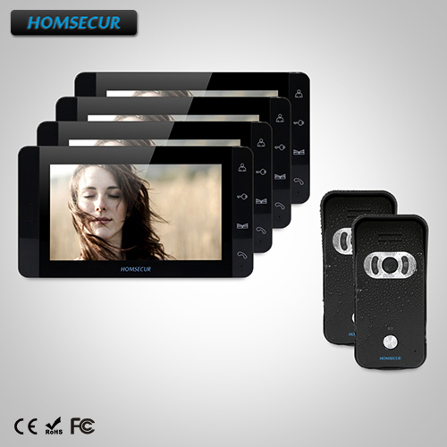 HOMSECUR 7 Wired Video&Audio Home Intercom+Black Monitor for House/Flat TC021-B + TM703-B