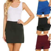 Women's Solid Color Soft A-line Running Tennis Golf Sports Shorts Skirt Female Slim Casual OL Style Anti-exposure Skirts(China)