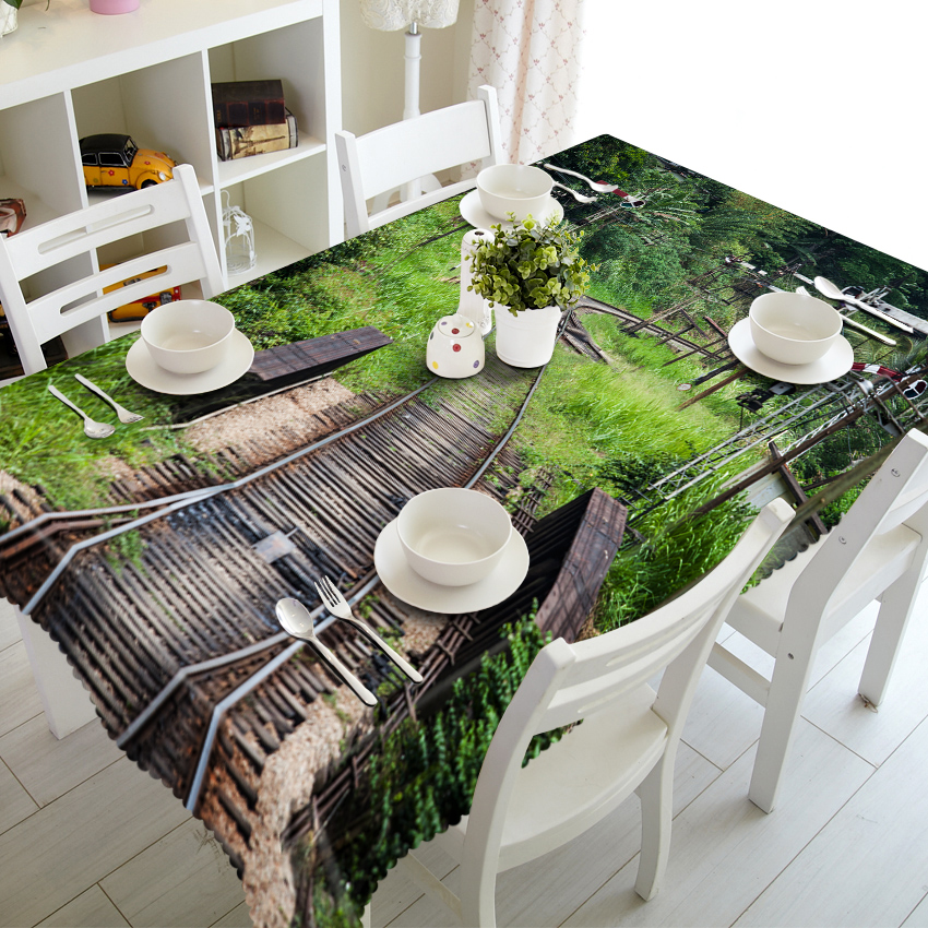 Customizable 3D Tablecloth Wooden House Town Scenery Pattern Table Cloth Home Textile Polyester Rectangular Round Table cover in Tablecloths from Home Garden