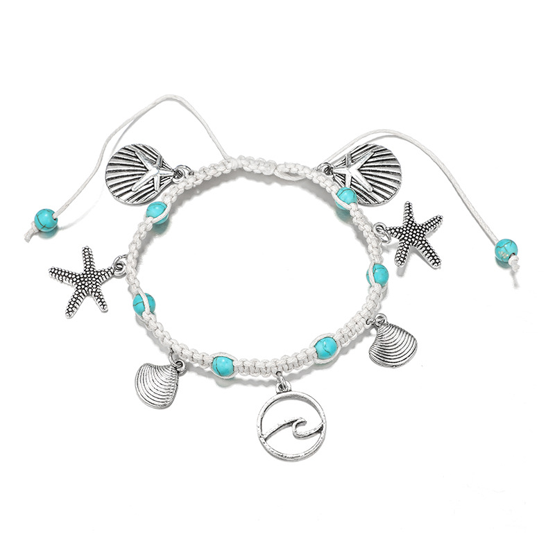 Fashion Bohemia Natural Stone Woven Bracelet Starfish Shell Pendants Anklet For Women Girl Jewelry Accessories Wholesale 1