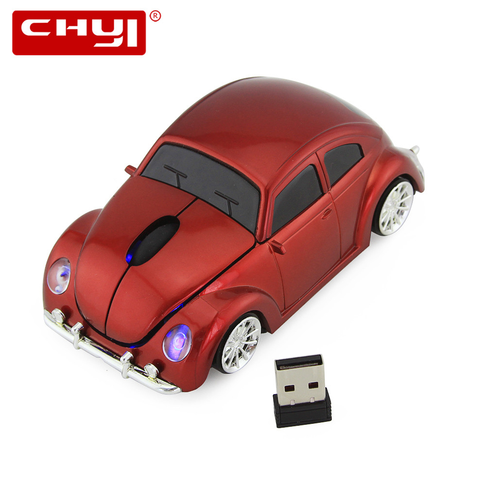 3D Xmas USB Optical Wireless Mouse VW Beetle Forma del coche Juego Ratón Beetle Mause para PC Ordenador portátil Ratones