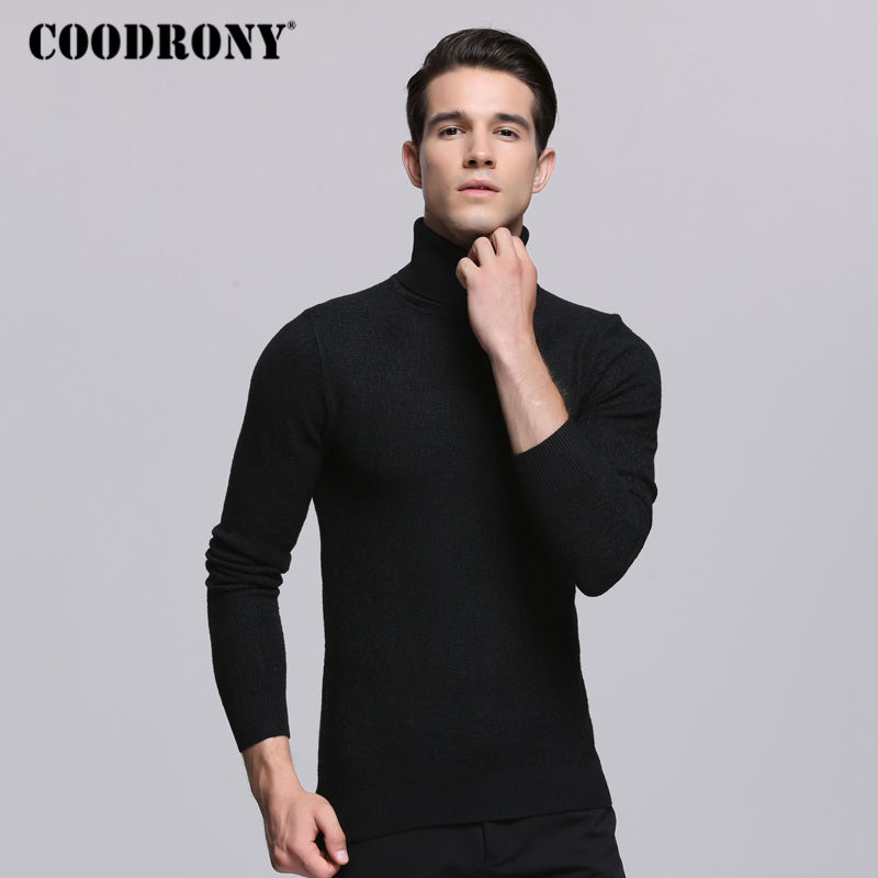 COODRONY 2018 Autumn Winter Mens Sweaters Thick Warm Turtleneck Sweater Men Knitted Cashmere Cotton Pullover Men Pull Homme 7253