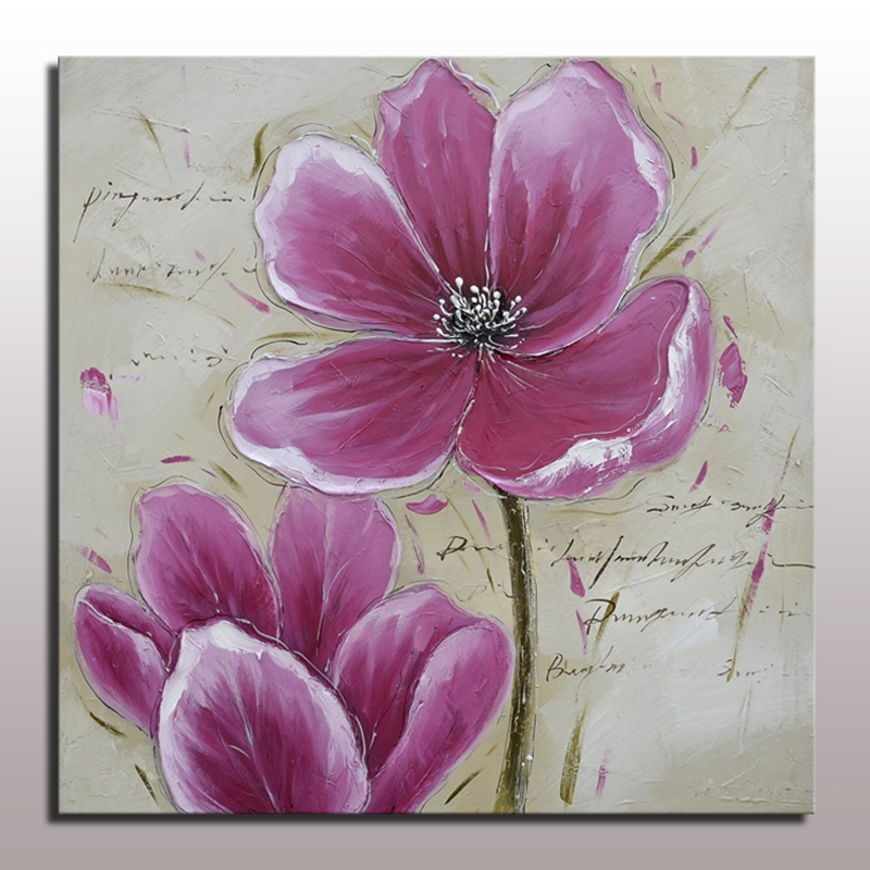 ჱBeautiful Purple Flower Wall Art Oil Painting Abstract Hand ...