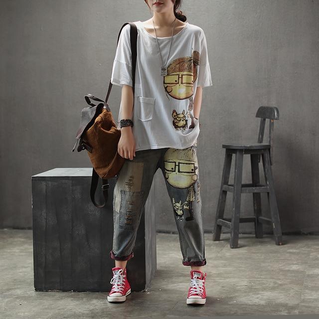 Women Spring Autumn Fashion Brand Vintage Cartoon Dog Little Girl Print Denim Jeans Female Casual Frayed Harem Pants Trousers 4
