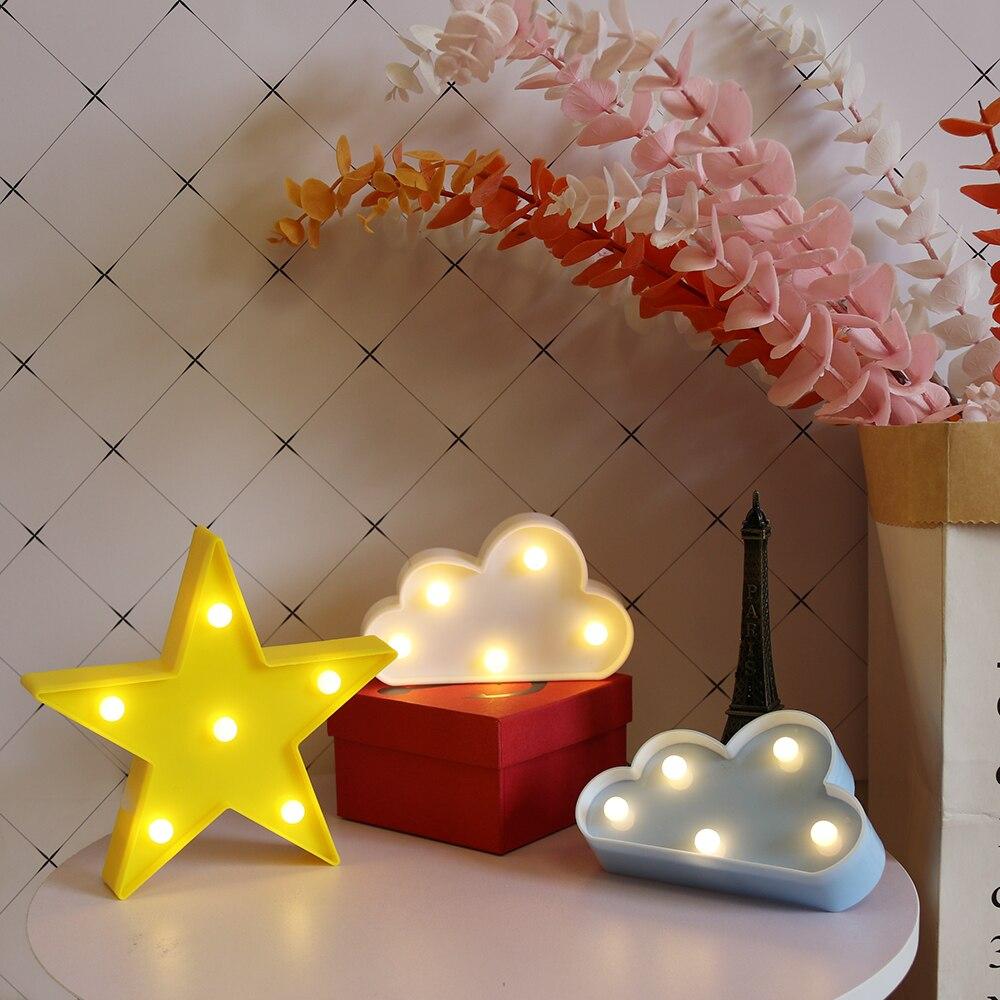Мультяшные ночные светильники облако/звезда/раковина/Сердце светодиодный настольная лампа для детской спальни украшения