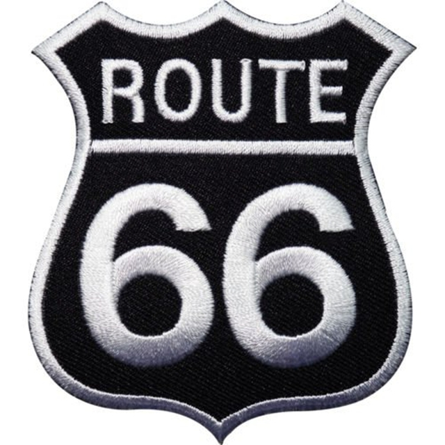 2pcs Route 66 Sign Embroidered Iron On Patch For Clothes Fabric