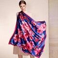 100% Silk Scarf New Arrival,Classic 106*106cm Infinity Premium Shawl,Multy Use Wrap,Flower Printing Scarves,Elegant scarfs women