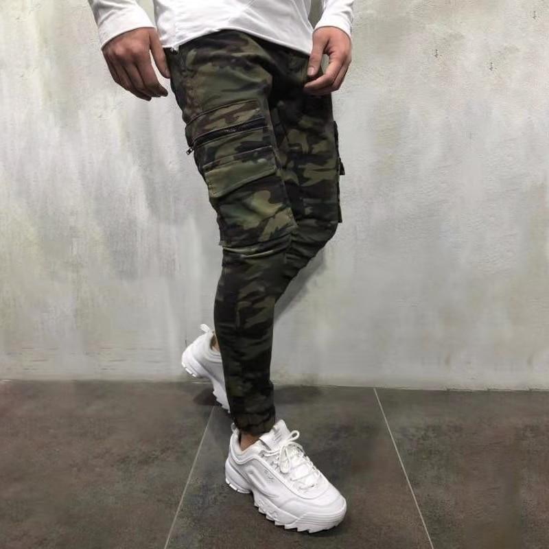 2019 Men's Pants Army Green Camouflage Slim Long Pants Patchwork Casual   Jeans   Men Modis Streetwear