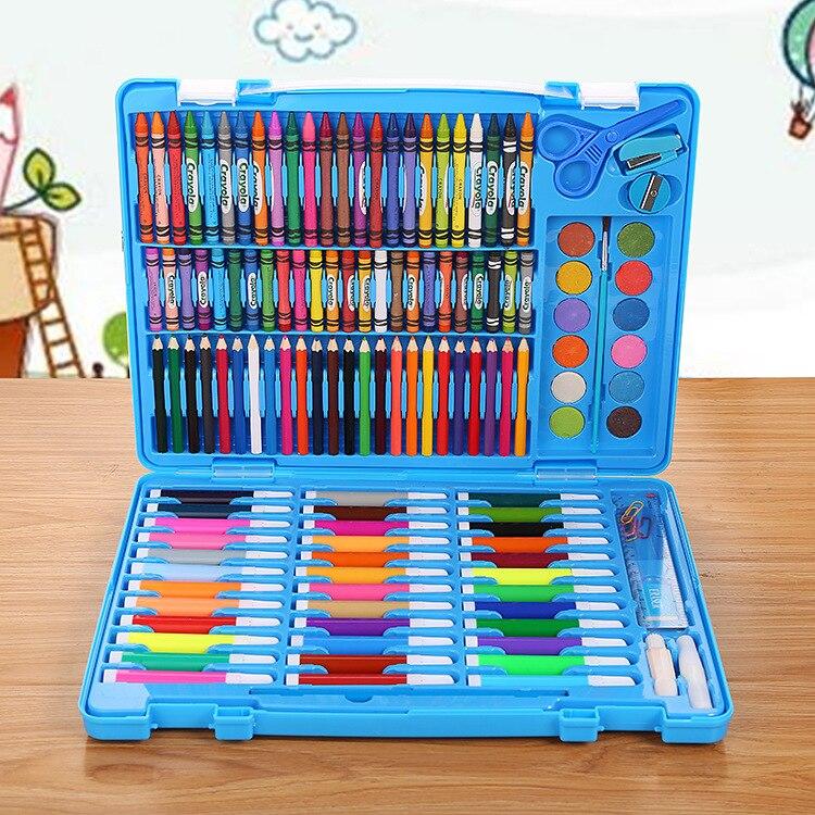 Creative 150 pièces ensemble artistique Crayons aquarelle stylo crayon de couleur huile Pastel cadeau ensemble pour étudiant dessin Doodle Art fournitures