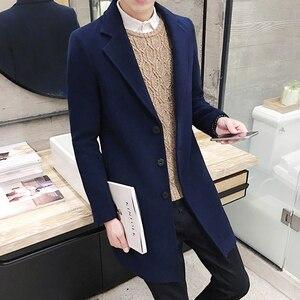 Image 2 - 2019 novo casaco de lã de inverno dos homens lazer longas seções casacos de lã cor pura casual moda jaquetas/casual