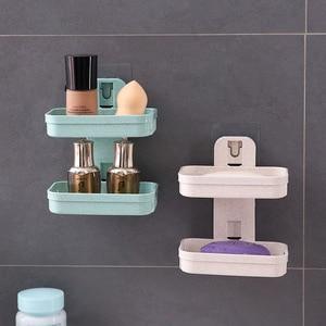 Image 1 - 1pcs צלחת סבון מגש שכבה כפולה בעל סבון ניקוז יניקה גביע סבון תיבת בית סבון כלים דרגש מים אמבטיה סלי