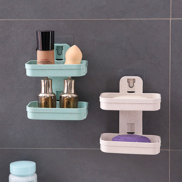 1pcs צלחת סבון מגש שכבה כפולה בעל סבון ניקוז יניקה גביע סבון תיבת בית סבון כלים דרגש מים אמבטיה סלי
