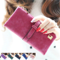 2017 Fashion Lady Bags Women Wallets Drawstring Nubuck Handbags Leather Zipper Wallet Purse Long 2 Fold Clutch Card Holder J417