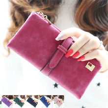 2017 Fashion Lady Bags Women Wallets Drawstring Nubuck Handbags Leather Zipper Wallet Purse Long 2 Fold Clutch Card Holder J417